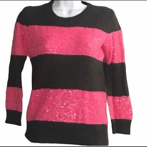 J Crew Pink Sequin Gray Striped Sweater XS